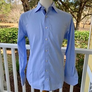 Levinas Light Blue Textured Dress Shirt. 16.5/L
